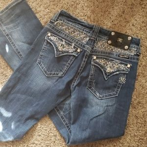 MISS ME DISTRESSED EMBELLISHED BootJEANS SZ 27